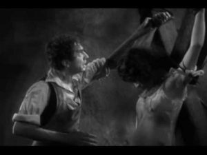 Bela Lugosi as the mad Dr. Mirakle doing his mad science experiment on poor Arlene Francis