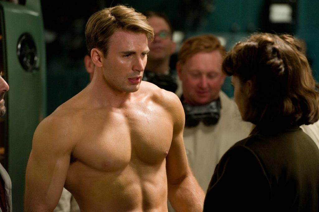 Steve Rogers (Chris Evans) transformed by the Super Soldier Serum in Captain America: The First Avenger