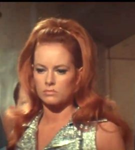 Lucianna Paluzzi as the beautiful, brilliant doctor that the two heroes fight over in The Green Slime.
