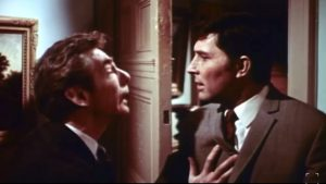 Michael Gough warning Mark Eden in The Crimson Cult
