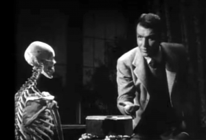 Mentally-created skeleton examined by the mystery writer (Don Porter) in Night Monster