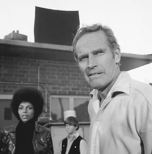 Rosalind Cash and Charlton Heston with the survivors in The Omega Man