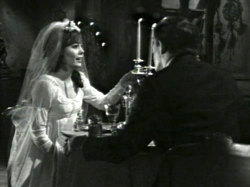 Dark Shadows season 2 episode 239 - Maggie Evans in wedding dress - thinking that she's Josette - talking with Barnabas Collins