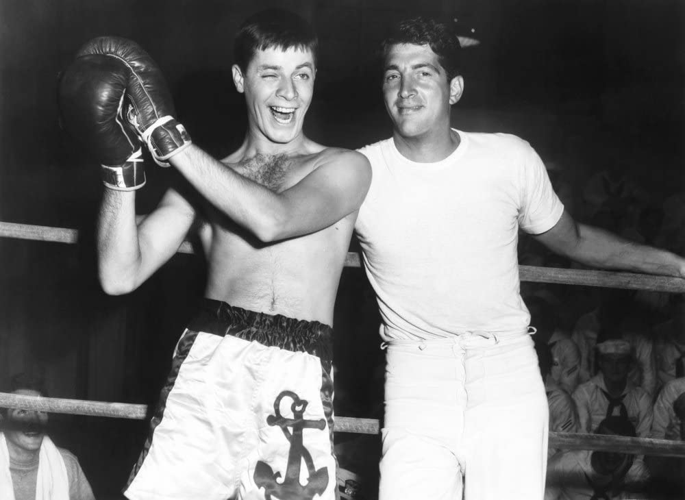 Jerry Lewis and Dean Martin in the boxing ring in Sailor Beware