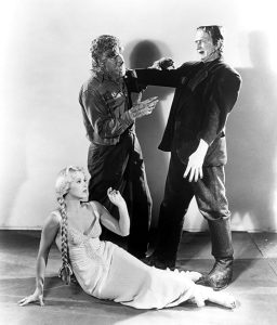 Publicity photo from Frankenstein Meets the Wolf Man - Larry Talbot/Lon Chaney Jr. as the Wolf Man, Bela Lugosi as Frankenstein's monster, Ilona Massey as the daughter of Dr. Frankenstein