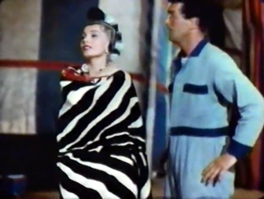 Saadia (Zsa Zsa Gabor), queen of the high wire, with Pete (Dean Martin)