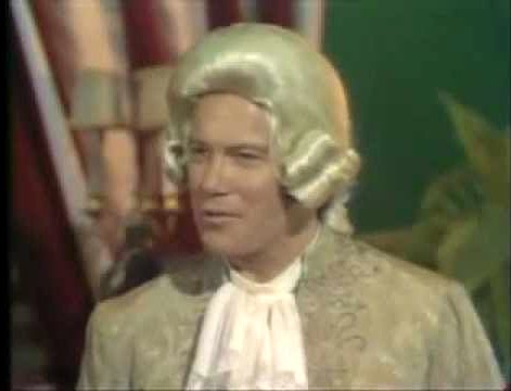 """William Shatner as Alexander Hamilton in """"Swing Out Sweet Land"""""""