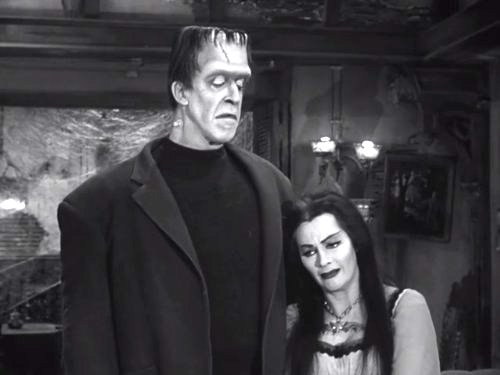 Family Portrait - Herman and Lily Munster as the average American family