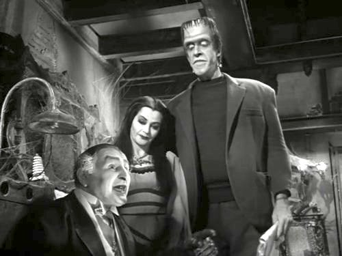 Grandpa, Lily, and Herman Munster